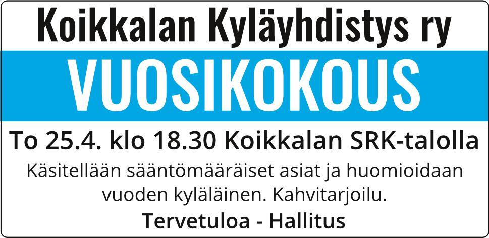 Kyläyhdistyksen vuosikokous 25.4. klo 18.30